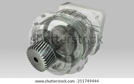 Planetary gearbox transmission cross section and semi transparent casing - stock photo