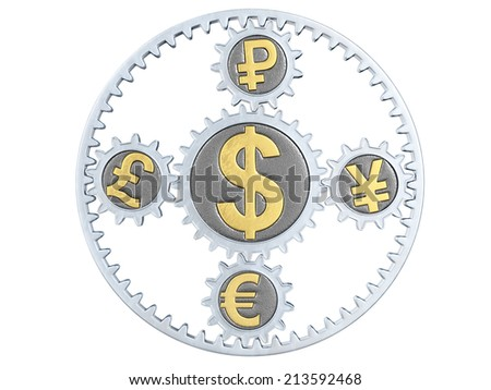 Planetary gearing on white background. 3D image - stock photo