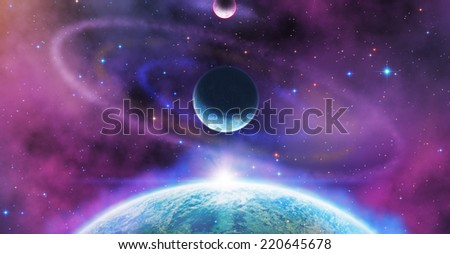Planets and space sunrise on a starry background. Elements of this image furnished by NASA. - stock photo