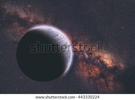 Planets and sunrise on a starry background. My work, no elements of NASA or other third party. - stock photo