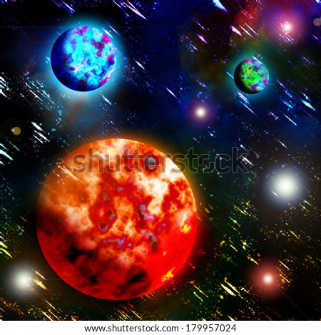 Planets and the flaming sun in space - stock photo