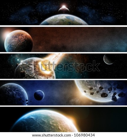 Planets apocalypse banner pack - stock photo