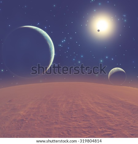 Planets in a distant stellar system. My astronomy work. Digital illustration.  - stock photo