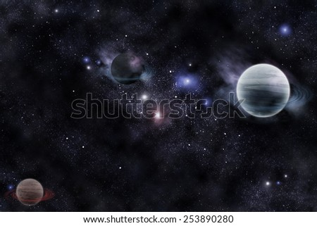 planets in fantastic space (Elements of this image furnished by NASA) - stock photo
