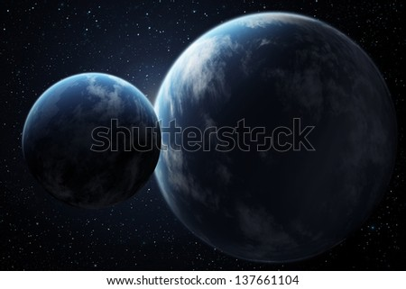 Planets in outer space - stock photo