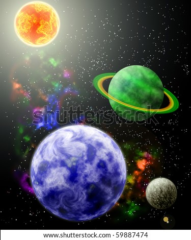 Planets in space - stock photo