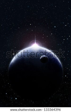 Planets in space against bright star