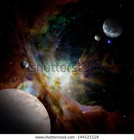 Planets in the space. Elements of this image furnished by NASA. - stock photo