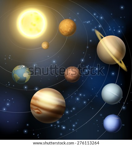 Planets of the solar system around the sun illustration - stock photo
