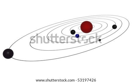 Planets on rings - stock photo