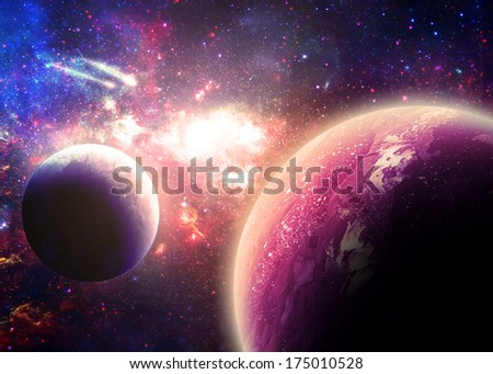 Planets Over a Glowing Nebula - Elements of this image furnished by NASA  - stock photo
