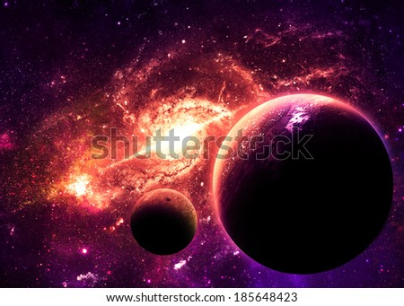 Planets over Orange Galaxy - Elements of this Image Furnished by NASA