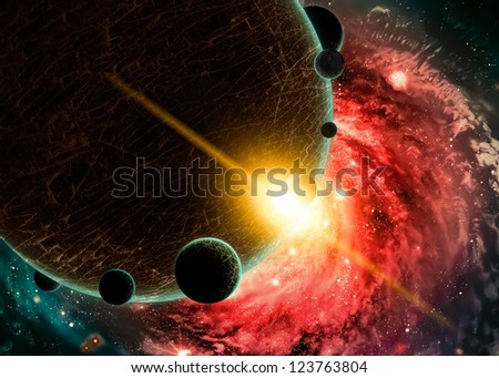 Planets over the nebulae in space - stock photo