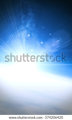 Planets sunrise on a starry background. Digital illustration. No elements of NASA or other third party. - stock photo