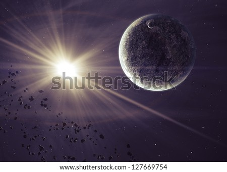 Planets with the shining star in space - stock photo