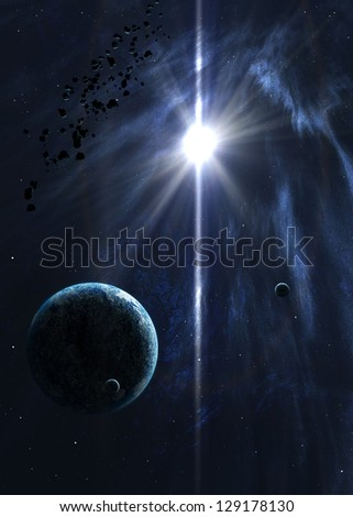 Planets with the shining star in space. Elements of this image furnished by NASA - stock photo