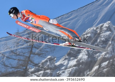 PLANICA, SLOVENIA - MARCH 17 2016 : Fis World Cup Ski Jumping Final -   Nicholas ALEXANDER -USA