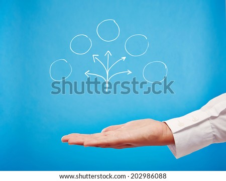 Planing! Business hand with open palm - stock photo