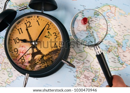 Planing travel france paris worldmap globe stock photo image planing for travel to france paris with worldmap globe magnifying glass and alarm clock travel gumiabroncs Choice Image