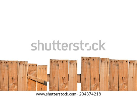 Plank was introduced to as a fence, which isolated on white background. - stock photo