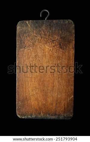plank wood isolated on black background - advertising hanging board - stock photo