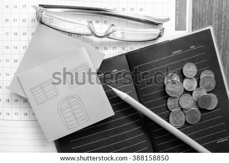 planner and money - stock photo