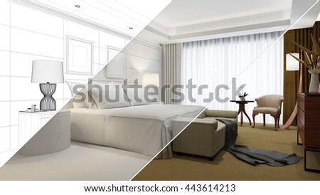 Planning and development of hotel room from CAD blueprint to 3D Rendering