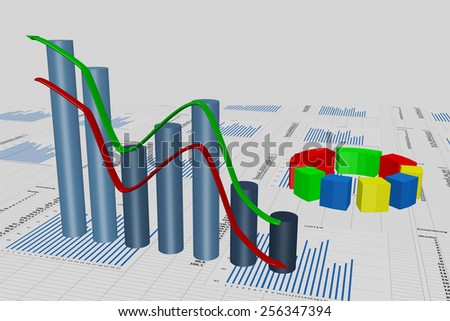 Planning and performance evaluation with diagram - stock photo