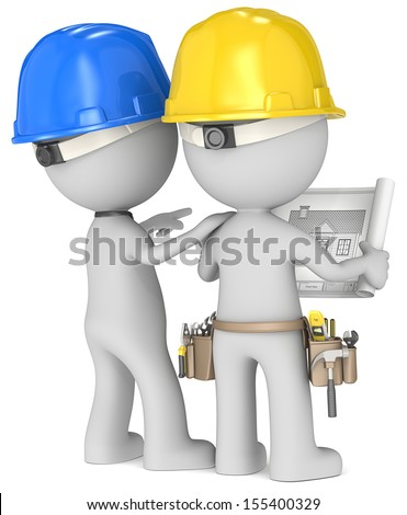 Planning dude builders x 2 looking stock illustration 155400329 dude the builders x 2 looking at blueprint rear view malvernweather Choice Image