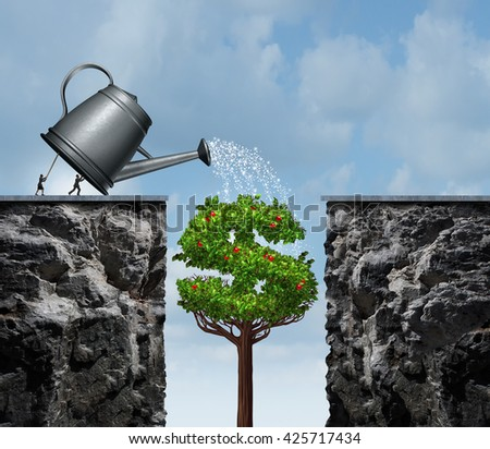 Planning for financial success business concept as a group of businesspeople using a watering can to feed a growing moneey tree that will close the gap  as a bridge with 3D illustration elements. - stock photo