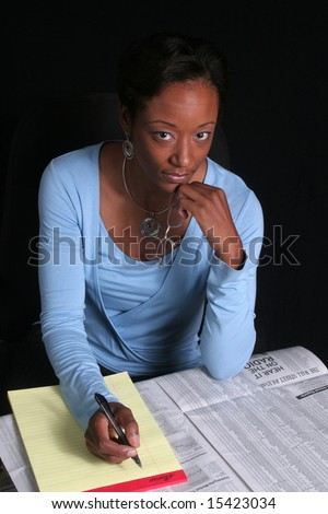 Planning for the future, pretty woman - stock photo