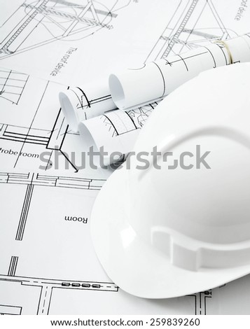 Planning of construction of the house. Drawings for building house and helmet. Working drawings.