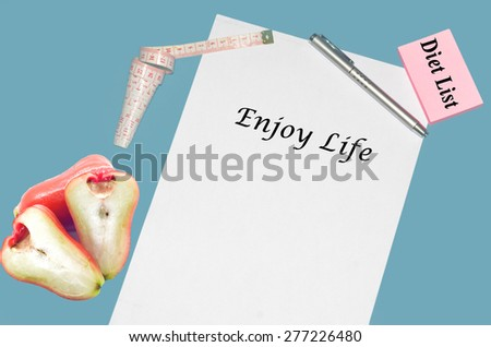 """Planning of diet """"ENJOY LIFE"""". isolated on white background - stock photo"""