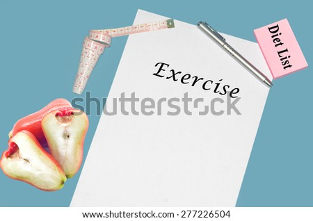 """Planning of diet """" EXERCISE"""". isolated on white background - stock photo"""