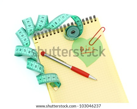 Planning of diet. Notebook measuring tape and pencil isolated on white