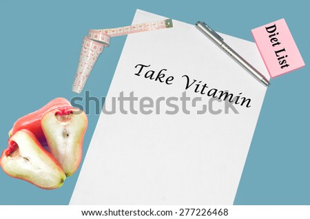 """Planning of diet """"TAKE VITAMIN"""". isolated on white background - stock photo"""