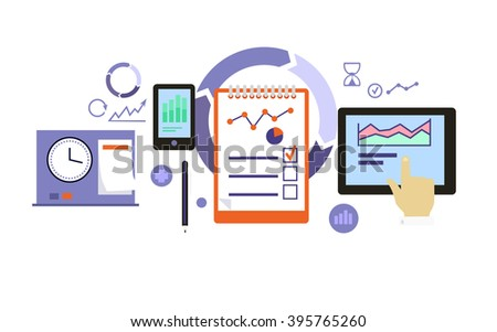 Planning process icon flat design. Business development, management project, marketing organization, service and strategy, information and data, workflow and optimization illustration - stock photo