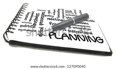 planning process wordcloud - stock photo
