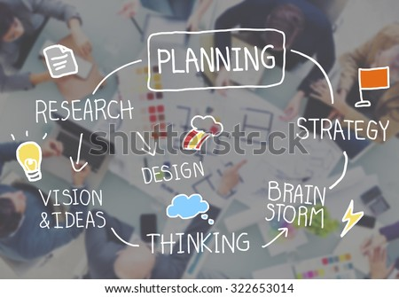 Planning Strategy Search Goals Mission Connect Process Concept - stock photo