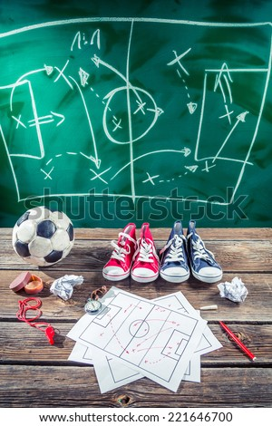 Planning win the match in soccer - stock photo