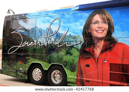 """PLANO, TEXAS - DECEMBER 4:  Former governor Sarah Palin's tour bus arrives at signing for her book """"Going Rouge"""" in Plano, Texas on December 4, 2009. - stock photo"""