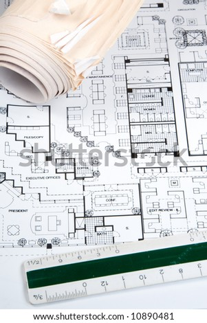 Plans and blueprints for an architect's design drawings