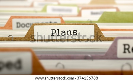 Plans Concept. Colored Document Folders Sorted for Catalog. Closeup View. Selective Focus. 3d Render. - stock photo