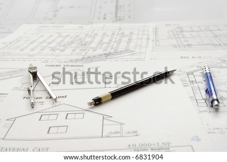 Plans of one family house, writing materials and scale - stock photo