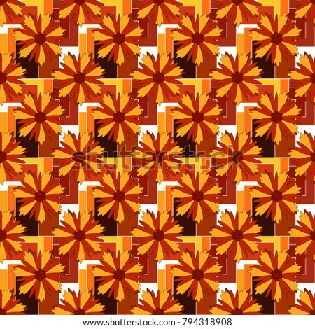 Plant flower nature wallpaper. Summer exotic floral abstract brown, red and yellow background. Abstract seamless pattern.