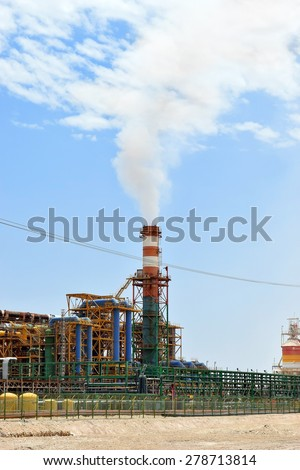 plant for the production of mineral fertilizers and magnesium on the Dead Sea in Israel - stock photo
