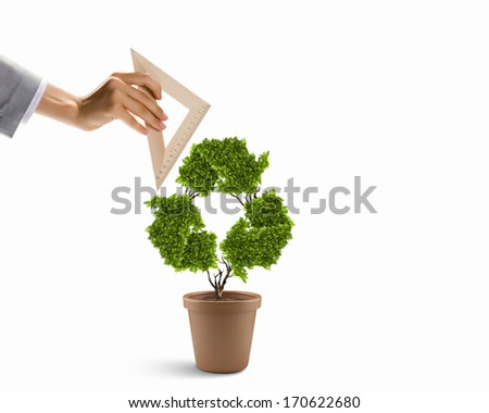 Plant in shape of recycle symbol and human hand holding ruler