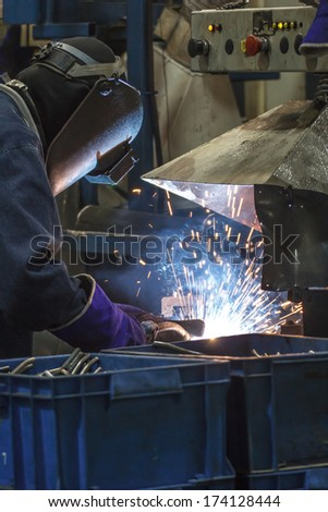 Plant industry in welding worker
