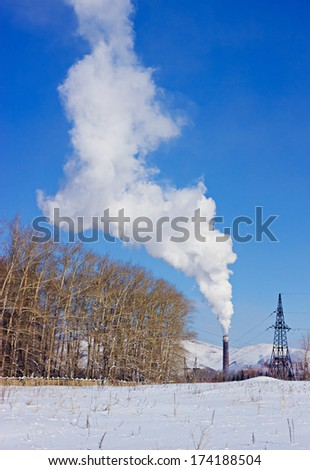 Plant pipe smoking over the birch grove against blue sky by winter - stock photo
