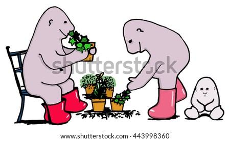 Plant sale, car boot sale, potted herbs. Cartoon man Hugo seated in group, offers a pot plant to customer and baby. Color illustration.